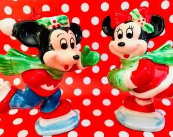 Vintage Disney Minnie Mickey Mouse Ice Skating Christmas Holiday Ornaments Ceramic Japan