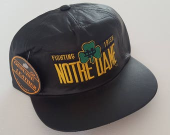 Vintage Fighting Irish Notre Dame Genuine Leather Deadstock Strapback Hat VTG