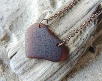 Handmade Surf Tumbled Amber Sea Glass Heart Pendant  Natural Heart Shape