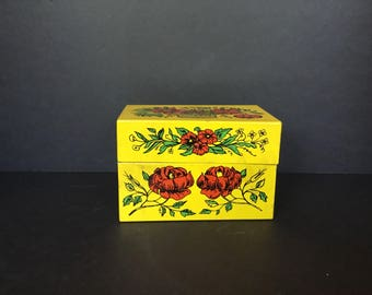 Yellow Tin Recipe Box