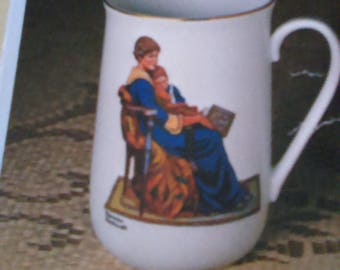 Collectible Norman Rockwell Mug trimmed in Pure 24k Gold-Bedtime
