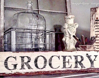 GROCERY Sign Salvage Barn Wood Reclaimed White Chippy Paint Farmhouse Decor Architectural Rustic Painted Sign Fixer Upper Decor