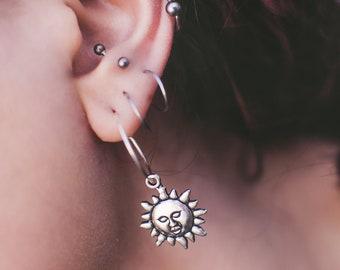 Silver Hoop Sun Earrings
