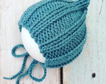 Blue grey storm cadet baby bonnet boy elf newborn 0 to 3 months photography prop elf pixie bonnet hat