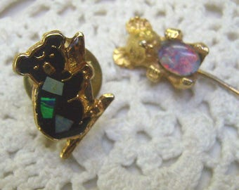 Vintage Koala Bear Pins...Black Bear With Inlaid Opals...Harlequin Opal Koala Stick Pin....Australian Koala Souvenirs