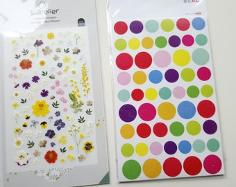 Sales : Flower and Circled Sticker - 7 sheets