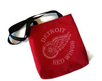 Detroit Red Wings Bag • Upcycled Tshirt Shoulder Bag • Recycled Detroit Red Wings Shirt • Red Wings Gift • Tee Shirt Tote