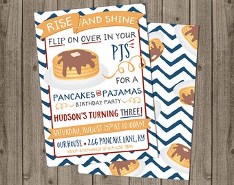 Pancakes and Pajamas Birthday Invite - Rise & Shine Invitation - Pancakes and PJs Birthday - 5x7 JPG DIGITAL FILE (Front and Back Design)