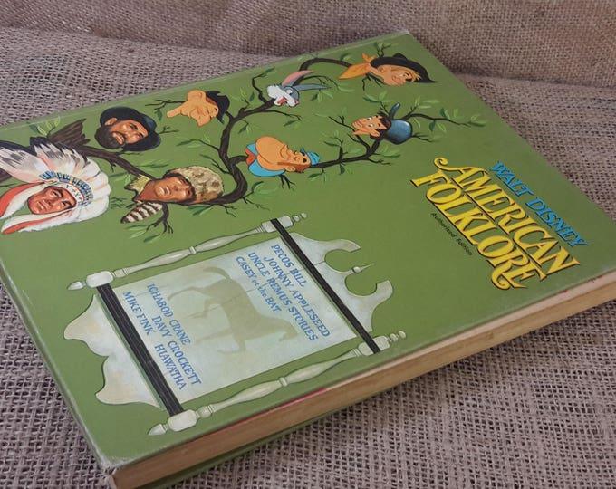 Super vintage Walt Disney's American Folklore from MCMLVI 1956, Great vintage book from Walt Disney retold by Betty Ren Wright, vintage gift