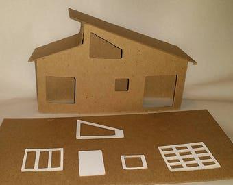 Little Village Houses- DIY Cardboard Putz  Style House-  Mid-Cenury Modern House #4