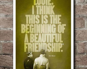 "CASABLANCA ""Beautiful Friendship"" Quote Poster"