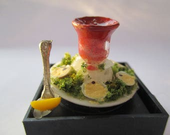 Dollhouse Miniatures - Oysters On a Half Shell & Lemon on a Fork - Seafood