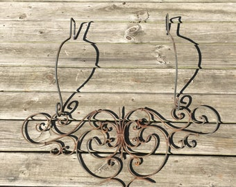 Hanging, Ornamental, Wrought, Iron, Vintage, Large, Wall, Decor, Country, Home, Cabin, Living Room, Bedroom, Kitchen, Patio, Porch, Deck,