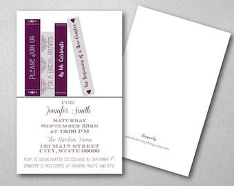 Bridal shower invitation, Book theme, purple, eggplant, plum, gray, grey, wedding shower, baby shower, wedding invitation, couple shower