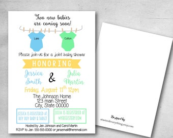 Double baby shower invitation, Joint baby shower, sisters, baby girl, baby boy, twins, Two new babies are arriving soon, Double the friends