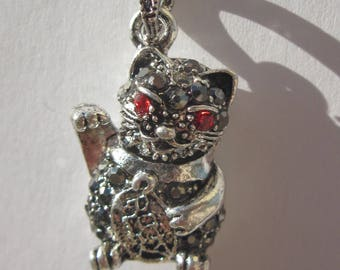 charm pendant in silver with Rhinestone cat (6176)