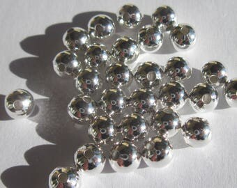 set of 100 round shiny silver metal beads 3mm - (4109)