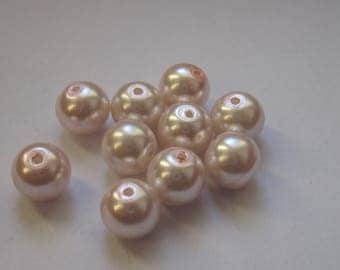 10 beads round Pink Pearl glass 8mm (2 PV22).