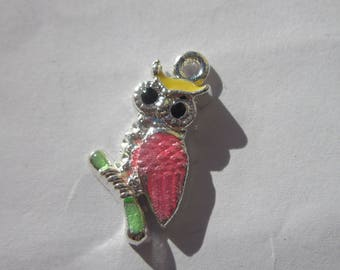 silver plated and enameled (36) OWL - shaped charm