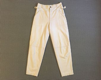 1980's, canvas pants, in off white, by Liz Claiborne, Women's size Medium/Large