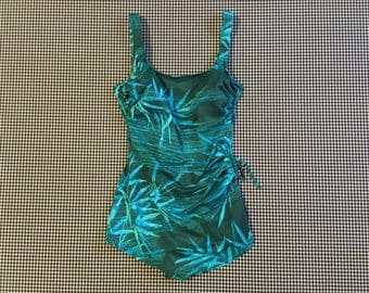 1970's, low cut, skirted front, one piece, bathing suit, in green and turquoise, bamboo leaf, print, Women's size Medium