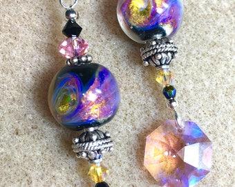 Artisan Lampwork Bead, Sterling Silver, Swarovski Crystals, Bali Silver, Handmade, Dangle Earrings