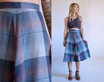 Vintage Plaid Skirt High Waist Circle Skirt