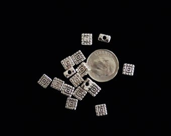 Square metal spacer beads decorative silver square spacer beads, Square metal beads 6mm 40 pieces 28-41-AS