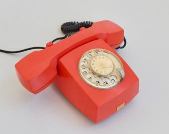 Rare Mini Rotary Dial Telephone ATA 21 by Iskra / 70s Yugoslavia / Orange