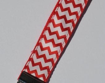 Chevron Key Fob, Striped Key Chain,  Red Chevron, Housewarming Gift, New Driver Gift, Chevron Key Chain