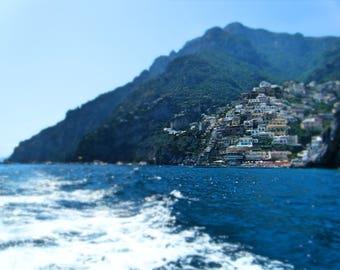 Boating in Positano - summer beach decor - Amalfi Coast - Italy - travel photography - blue - housewarming gift
