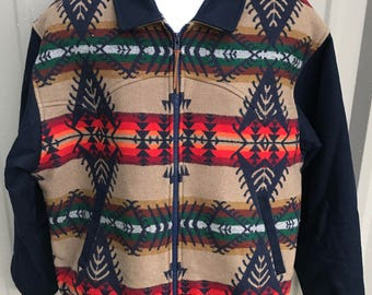 Vintage PENDLETON High Grade Western Wear Southwest INDIAN Blanket Jacket Size L