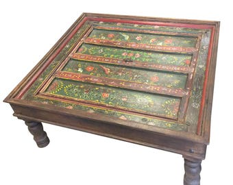 Shabby Chic  Antique Coffee Table Floral Hand Painted Birds Green Red Indian Jharokha Square Tables, Chai Table