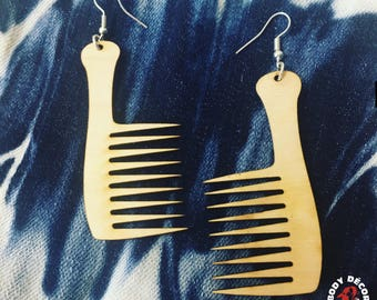 Custom Comb Earrings All Colors - Wooden Earrings Natural Hair - Women Girls Pierced Unique Eclectic - Handle That