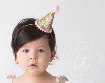 1st Birthday Hat Girl || Birthday Party Hat || First Birthday Hat | |Pink Girl Hat ||  1st Birthday Hat || Glitter Party Hat