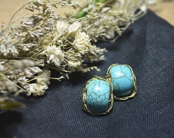 Turquoise Earrings,/Wire wrapped Earrings,/Wire wrapped jewelry/Gemstone Earrings/Bridesmaid earrings/Bohemian earrings/Holiday earrings