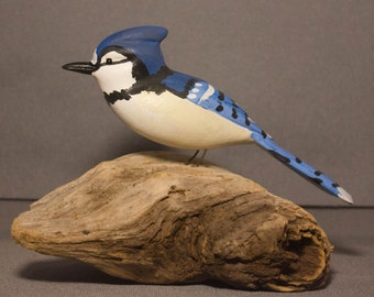 Blue Jay - sitting. Handcrafted, carved  wooden bird, painted bird, home decor, table  decor, Made in USA