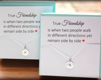Best Friend Gift, Compass Necklace, Best Friend Necklace, Friendship Necklace, Sisters Necklace, Friendship jewelry gift, BFF