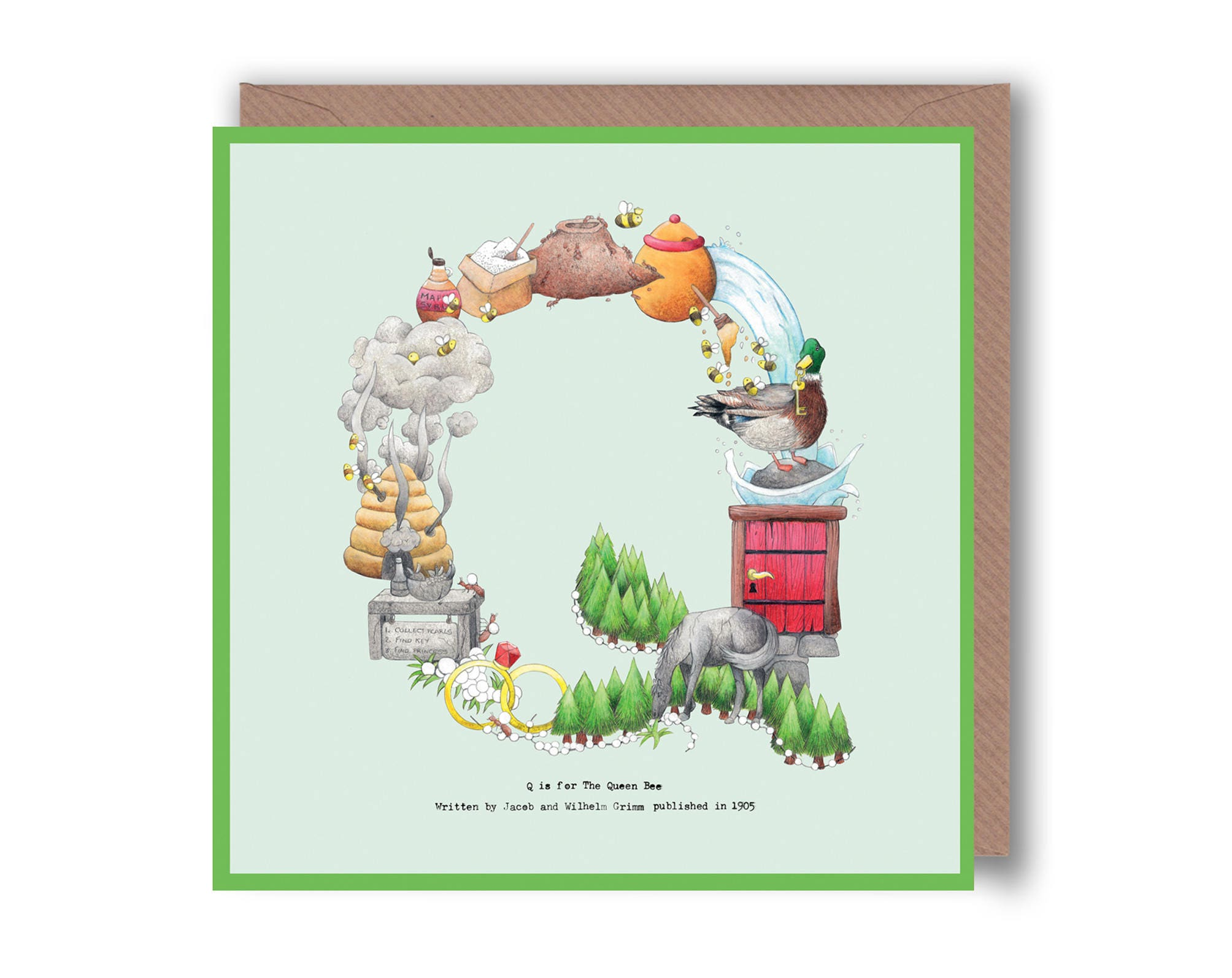 Letter Q Alphabet Letter Greeting Cards Fairy Tale Name Initial - Childrens birthday cards for the queen
