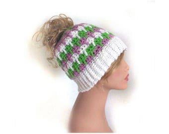 Messy Bun Hat, Messy Bun, Crochet Hat womens, Ponytail hat, Beanie, Messy Bun Beanie