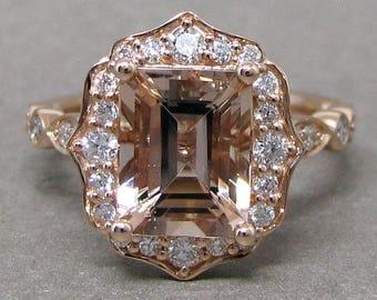 Emerald 8x6mm Morganite Scallped Diamond Engagement Ring 14k Rose Gold Wedding Bridal Ring Round Diamonds