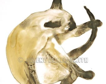 Siamese Cat Art, Cat Powder Room, Cat Bathroom Art