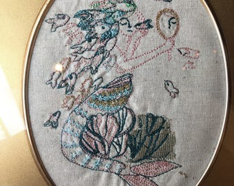 """Machine Embroidered Mermaid Portrait, Framed 6.5""""X8"""" READY TO SHIP"""