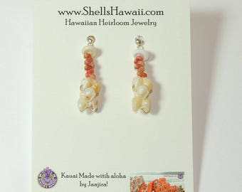 """1"""" Kahelelani & Momi shell earrings #187"""
