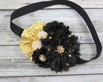 Black and gold sequin headband {cluster headband, fancy headband, Christmas headband, New Years headband}