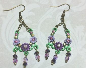 15% OFF SALE Purple Floral Dangle Earrings