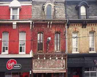 Toronto Street Life Photography - Wall Decor - Fine Art Photography Print - Canada, Red, Brick Building, Row houses, Architecture