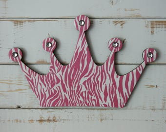 Princess crown wall decor, Zebra decor, Zebra Princess crown, Wall decor for girls room, Pink decor