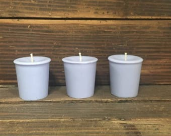 Set of 3 Light Purple Votive Candles  / Highly Scented / Over 75 Scents