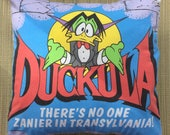 Count Duckula Vintage Fabric Cushion - handmade by Alien Couture